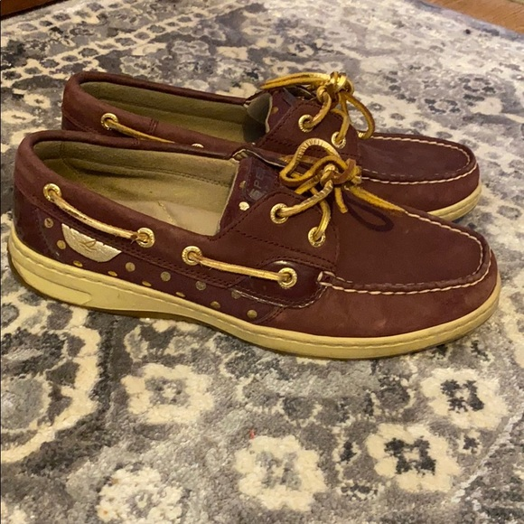 Sperry polka dot leather top sider boat shoes
